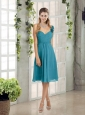 Empire Ruching Teal 2015 Sexy Prom Dress with One Shoulder