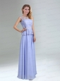 Lavender Belt and Lace Empire 2015 Prom Dress with Bateau