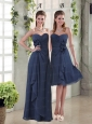Navy Blue Ruching and Hand Made Flowers  Prom Dresses with Sweetheart
