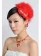 Red Luxurious Rhinestone Ladies' Jewelry Set Including Necklace And Headpiece