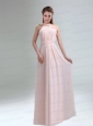 Romantic 2015 High Neck Chiffon Light Pink Prom Dress
