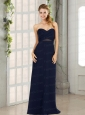 2015 Navy Blue Empire Sweetheart Prom Dress with Zipper Up