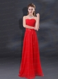 2015 Ruching Empire Prom Dresses with Belt