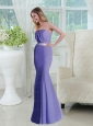 2015 Trumpet Strapless Lavender Prom Dresses with Sash