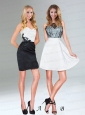 Classical White and Black Mini Length Prom Dresses