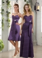 Eggplant Purple Sweetheart Column Prom Dresses with Bel