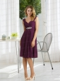 Empire 2015 Ruching Dark Purple Prom Dress with Zipper Up