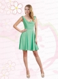 Empire Ruching  2015 Apple Green Mini Length Prom Dress with V Neck