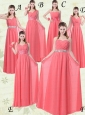 Exquisite Watermelon Prom Dresses with Ruch and Beading