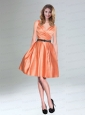 Low Price Orange Taffeta Short V Neck Prom Dresses