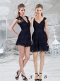 Navy Blue Lace Empire V Neck Cap Sleeves Prom Dresses  with Mini Length