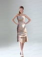 Ruching and Paillette Champagne Prom Dresses  with Sweetheart