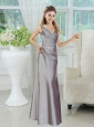 Silver V Neck Long Prom Dresses  for 2015 Wedding Party