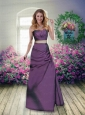 Sweetheart Column 2015 Eggplant Purple Prom Dresses with Belt and Ruching