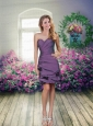 Sweetheart Ruching Hand Made Flowers Column Prom Dresses in Eggplant Purple