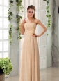 Champagne Ruching Chiffon Prom Dresses with Sweetheart