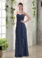 Sweetheart Ruching and Hand Made Flowers Prom Dresses in Navy Blue