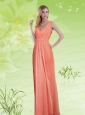 2015 Simple V Neck Empire Ruching and  Prom Dress in Watermelon Red