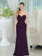 2015 Sweetheart Ruching Floor Length Prom Dress in Dark Purple