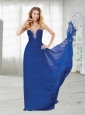 Beaded Plunging Neckline Chiffon Prom Dress in Royal Blue