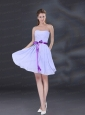 Ruching and Belt Chiffon Prom Dress in Lavender