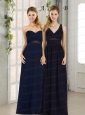 V Neck Empire Zipper Up Navy Blue Prom Dress for 2015