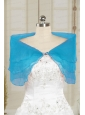 2014 Simple New Style Blue Shawls with Beading