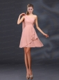 2015 One Shoulder Ruching Chiffon Prom Dresses in Peach