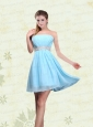 Strapless A Line Ruching Sequins Chiffon Prom Dresses