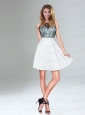 White A Line Prom Dress with Lace Covered Top