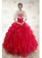 2015 Pretty Sweetheart Beading Quinceanera Dresses in Red