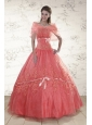 2015 Appliques Sweetheart Sweet 15 Dresses in Watermelon