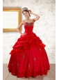 2015 Beautiful Beading Sweetheart Red Quinceanera Dresses