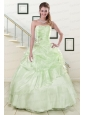 2015 Pretty Strapless Yellow Green Quinceanera Gowns with Beading