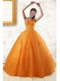 2015 Princess Orange Quinceanera Dresses with Appliques
