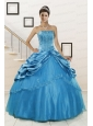 2015 Spring Wonderful Strapless Appliques Quinceanera Dresses in Teal