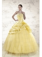 Cheap Yellow Sweetheart Ball Gown Quinceanera Dresses for 2015