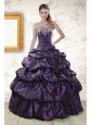 Pretty Sweetheart Purple Sweet 15 Dresses with Appliques for 2015