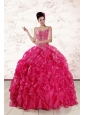 2015 Beautiful Spaghetti Straps Beading Quinceanera Dresses in Hot Pink