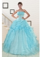 2015 Elegant Aqua Blue Quinceanera Dresses with Beading