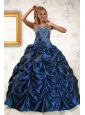 2015 Exclusive Appliques Navy Blue Quinceanera Dresses with Pick Ups