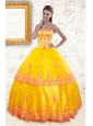 2015 Exquisite Strapless Gold Quinceanera Dresses with Appliques