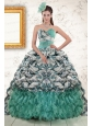 2015 Exquisite Turquoise Sweep Train Quinceanera Dresses with Beading and Picks Ups