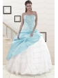 2015 Pretty Blue and White Quinceanera Dresses with Beading and Pick Ups