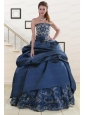 2015 Pretty Embroidery and Beaded Quinceanera Dresses in Navy Blue