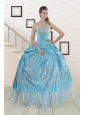 2015 Pretty One Shoulder Appliques and Beaded Quinceanera Dresses in Aqua Blue
