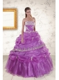 2015 Pretty Strapless Lilac Quinceanera Dresses with Appliques