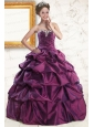 2015 Sweetheart Purple Quinceanera Dresses with Appliques and Pick Up