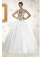 2015 The Super Hot Tulle Strapless Sequins White Quinceanera Dresses