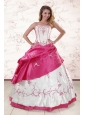 Luxurious Embroidery Sweet 15 Dresses in White and Hot Pink